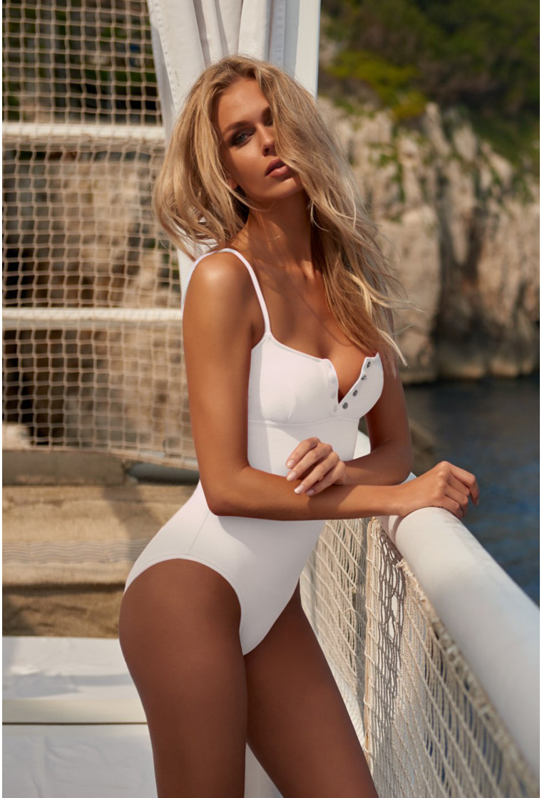 MELISSA ODABASH CALABASAS WHITE RIBBED OVER THE SHOULDER SWIMSUIT