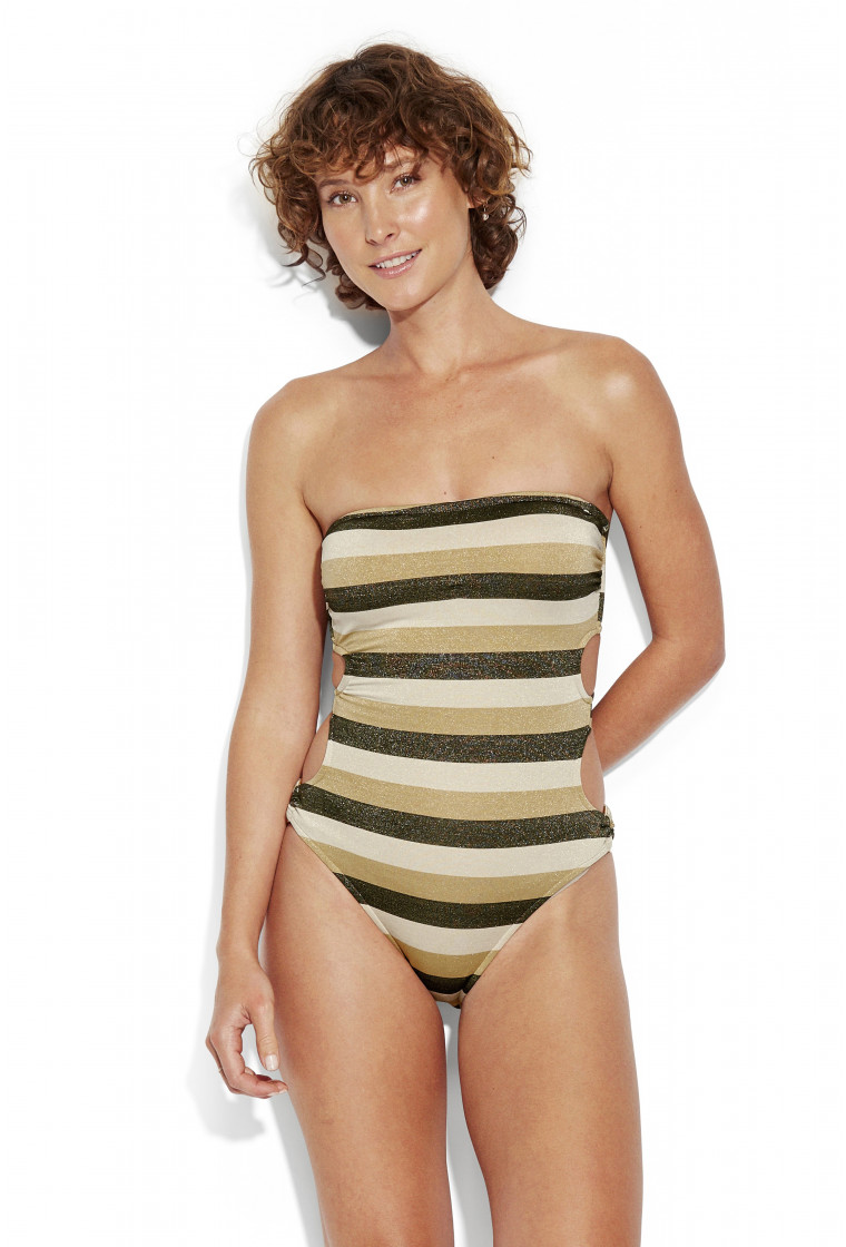 SEAFOLLY, Bandeau Swimsuit, Lurex Gold - Sunset Stripe