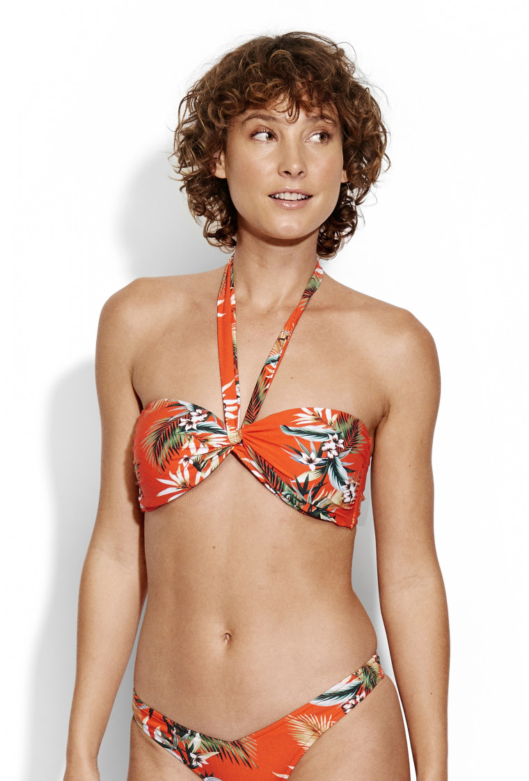 SEAFOLLY, Twist Bandeau Bikini Top, Tangelo - OceanAlley