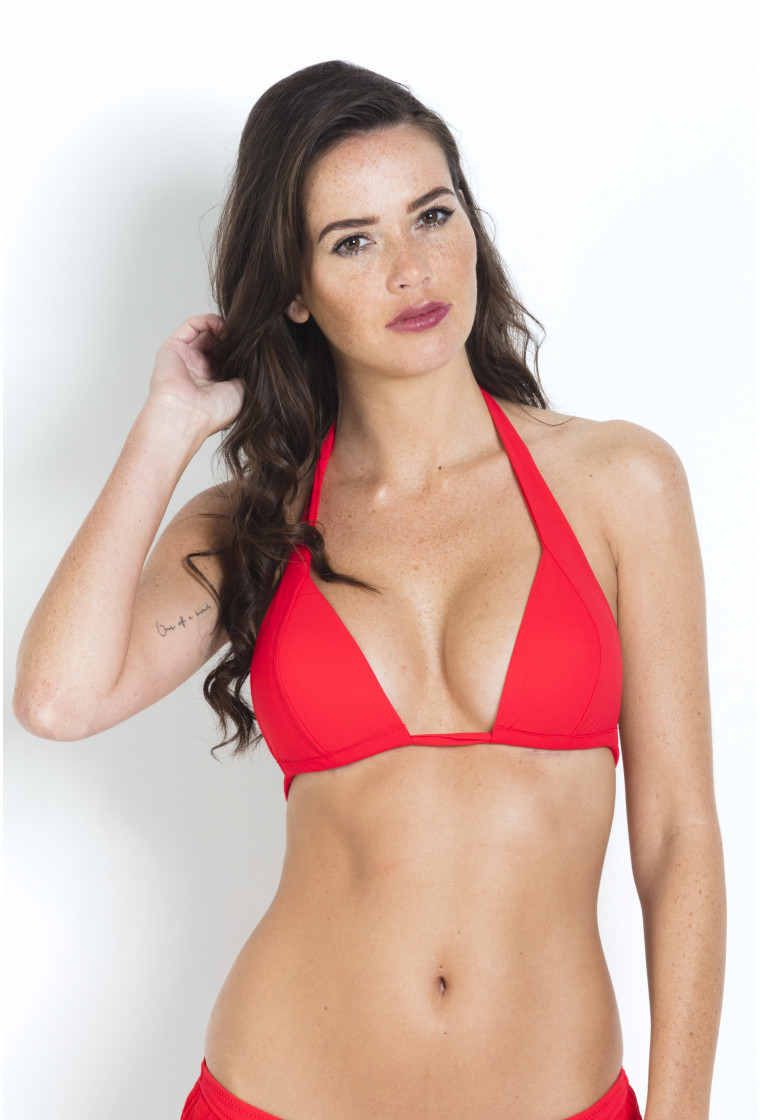 Triangle Bikini Top Multiposition Malka PAIN DE SUCRE Red - Uni Life