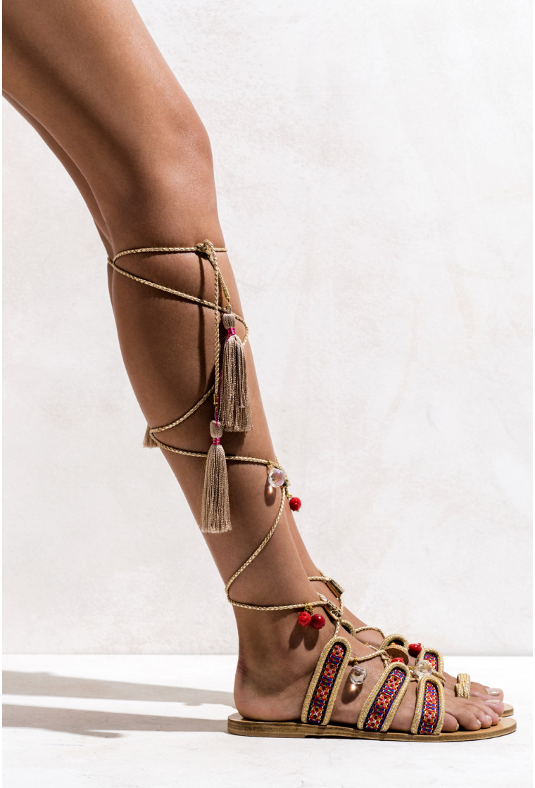 Gladiator Leather sandals The Great Gatsby, ELINA LINARDAKI